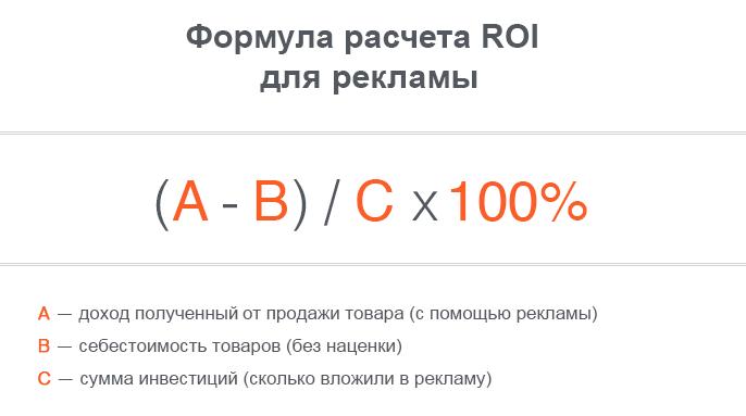 формула расчета roi рои от рекламы